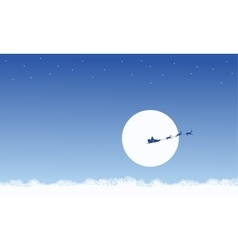 Silhouette of train santa on the sky scenery vector image