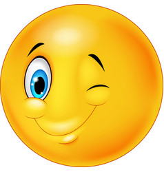 smiley happy emoticon cartoon with eye blinking vector image