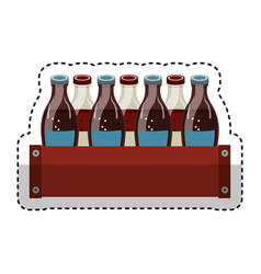 soda bottles in basket isolated icon vector image
