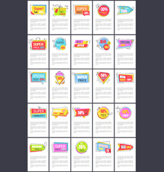 special price during super sale promo posters set vector image
