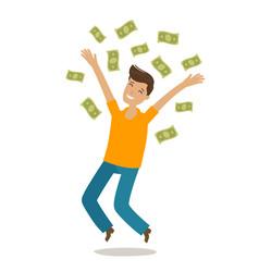 successful rich man money cash winnings jackpot vector image