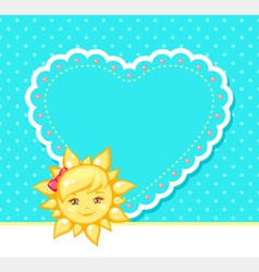Sun and heart vector
