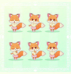 Sweet kitty little cute kawaii anime cartoon fox vector