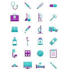 Turquoise pink medicine icons set vector