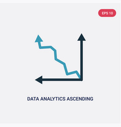 two color data analytics ascending line chart vector image