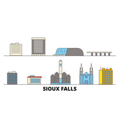 United states sioux falls flat landmarks vector