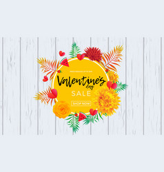 valentine day sale poster design template hearts vector image