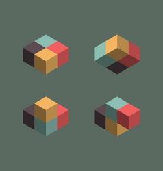 Vintage cube symbols vector