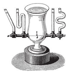 Water level in multiple connected vessels vintage vector