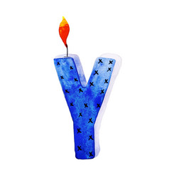 Watercolor happy birthday letter y candle vector