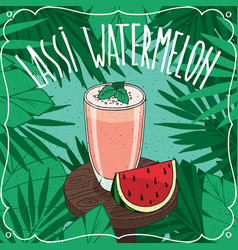 watermelon indian drink lassi with fresh juice vector image