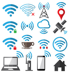 wifi flat sign icon set on white background vector image