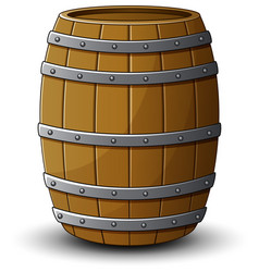 Wooden barrel on a white background vector