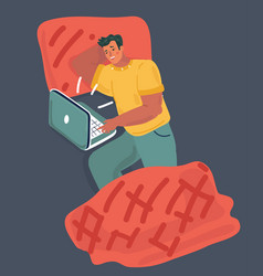 young guy lying in the bed look at laptop vector image