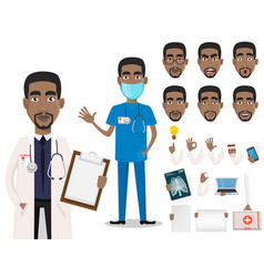 young professional african american doctor vector image
