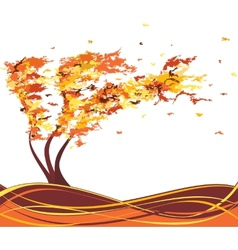Autumn grunge tree in the wind vector