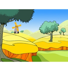 cartoon landscape of a wheat field with trees vector image vector image