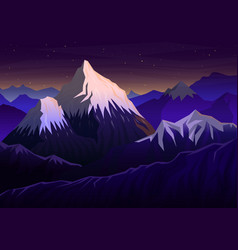Mountain everest evening panoramic with sunset vector