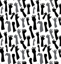 Seamless pattern of silhouette set of hands vector image