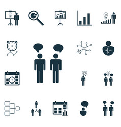 set of 16 executive icons includes decision vector image vector image