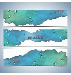 Set of watercolor horizontal backgrounds modern vector
