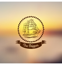 Ship emblem on light background vector image