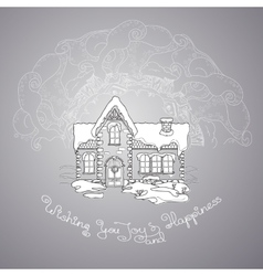 Christmas house and handwritten words on grey vector image