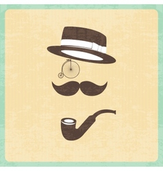 Hipster character with elements vector image vector image