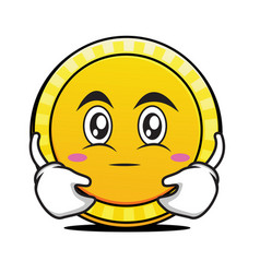 hugging face coin cartoon character vector image