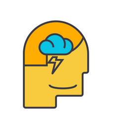 mind process male head flat line vector image vector image