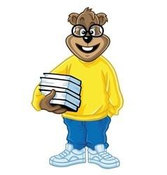 Nerd Bear Holding Books Cartoon vector image