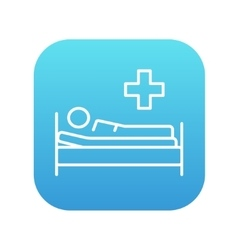 Patient lying on bed line icon vector image vector image