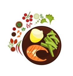 Salmon Grilled Steak on Plate vector image vector image