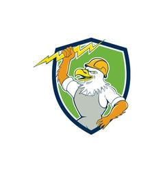 Bald Eagle Electrician Lightning Bolt Shield vector image vector image
