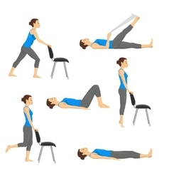 Body workout exercise fitness training set vector image