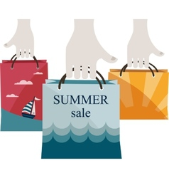 hands holding shopping bags to promote sales vector image vector image