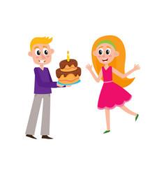 flat man giving birthday cake to woman vector image