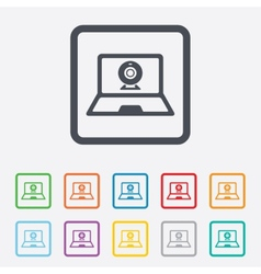 Video chat laptop sign icon Webcam talk vector image vector image