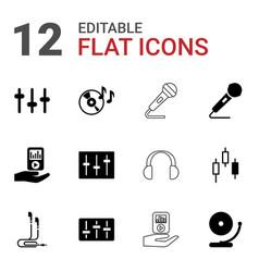 12 audio icons vector image