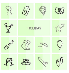 14 holiday icons vector image