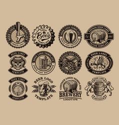 A bundle black and white vintage beer emblems vector
