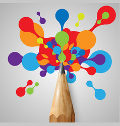 a pencil with colorful shapes vector image