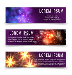 abstract banners template with space objects vector image