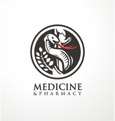 aesculapius staff and snake logo design vector image