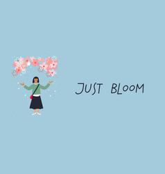 Asian girl enjoy sakura blossom bloom vector