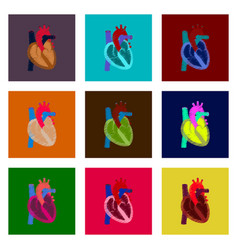 assembly of flat shading style icon heart vector image