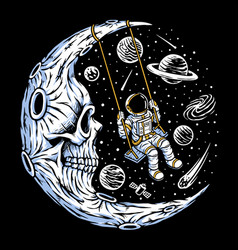 Astronaut playing swing on skull moon vector