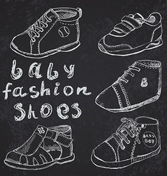 Baby fashion shoes set sketch handdrawn on vector