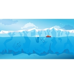 Background with long Iceberg and ship vector