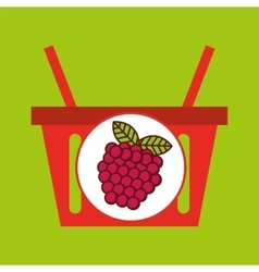 Basket shopping raspberry juicy fruit vector